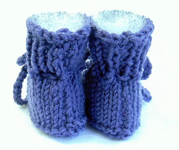 Purple Hand Knit Newborn Size Baby Booties Merino Wool