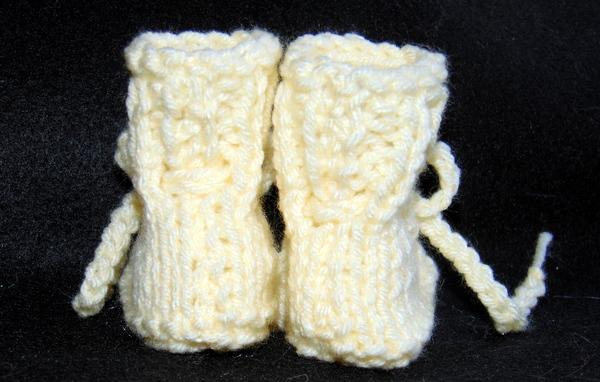 Sunny Yellow Vintage Style Handmade Knit Baby Booties