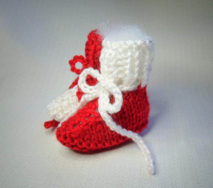 Red and White Hand Knit Newborn Size Baby Booties