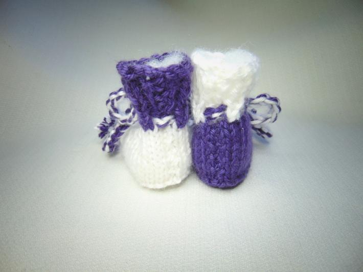 Purple and White Hand Knit Newborn Size Baby Booties