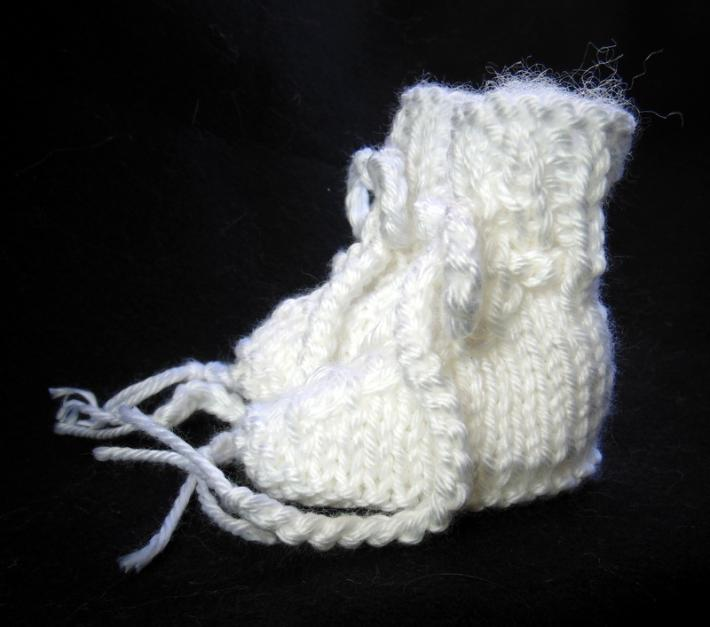 Snow White Newborn Size Hand Knit Baby Booties