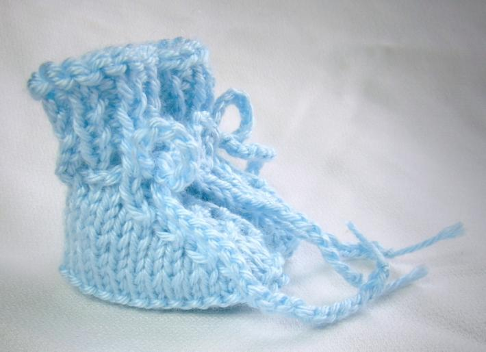 Baby Blue Preemie Size Hand Knit Baby Booties