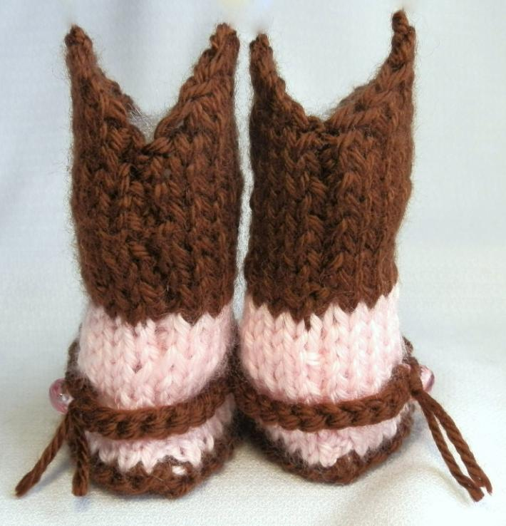 Pink and Brown Baby Cowgirl Booties