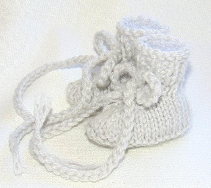 Pale Grey Hand Knit Preemie Sized Baby Booties