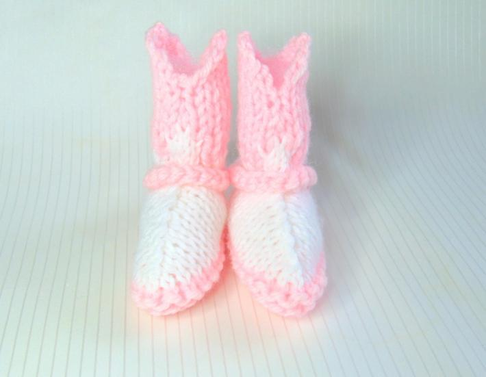 Pink and White Hand Knit Baby Cowgirl Booties