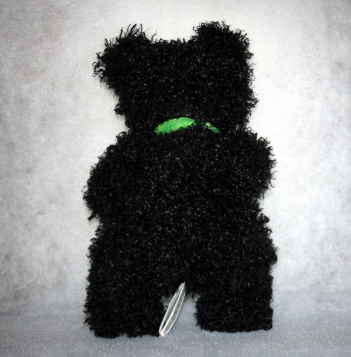 Curly and Fuzzy Black Handmade Teddy Bear with Blue Eyes