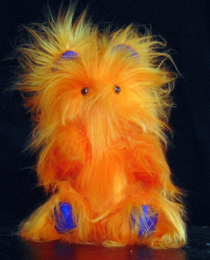 Handmade Toy Teddy Bear with Bright Orange Silky Fur