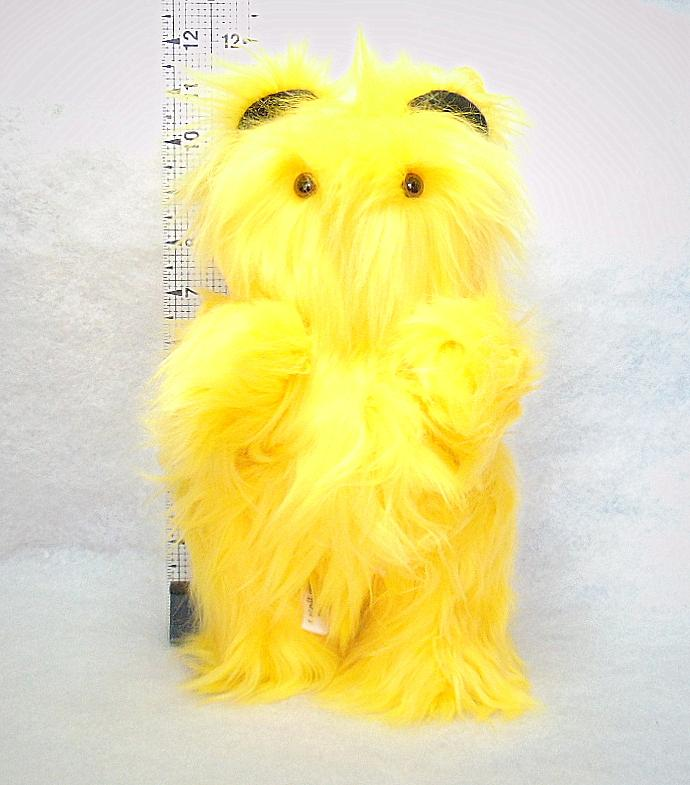 Handcrafted Toy Teddy Bear with Bright Long Silky Yellow Fur