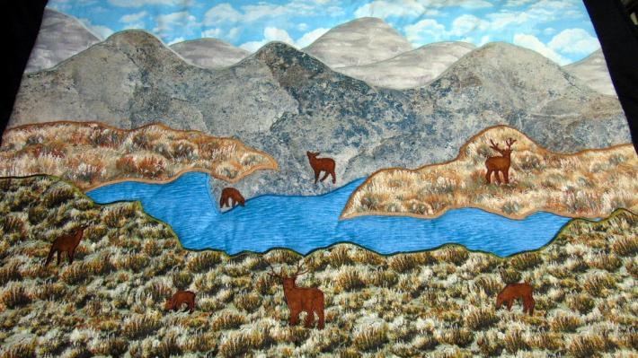 Hand Quilted Wall Hanging with Deer Mountains and Water