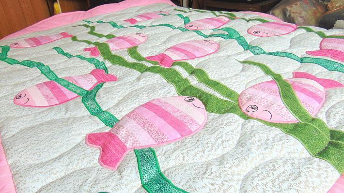 Crib Size Hand Quilted Original Design Happy Fish Quilt