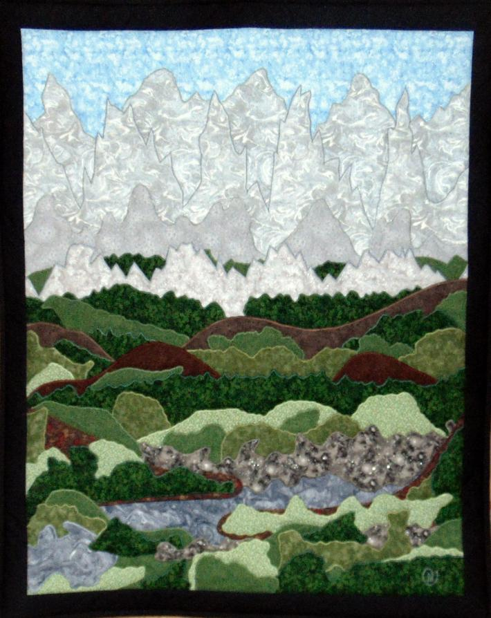 Handmade Original Design Quilt with Mountains