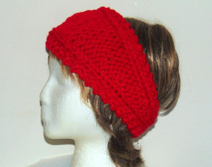 Bright True Red Hand Knit Ladies Headband