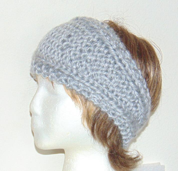 Silvery Gray Hand Knit Ladies Headband