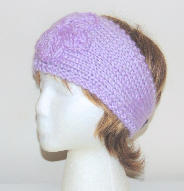 Lavender Hand Knit Adjustable Headband with Flower