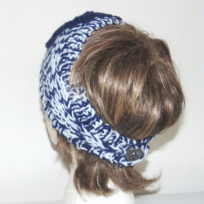 Navy Tweed Hand Knit Headband with Flower