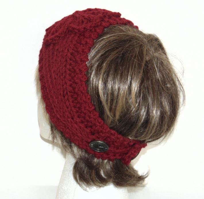 Cranberry Hand Knit Headband with Flower
