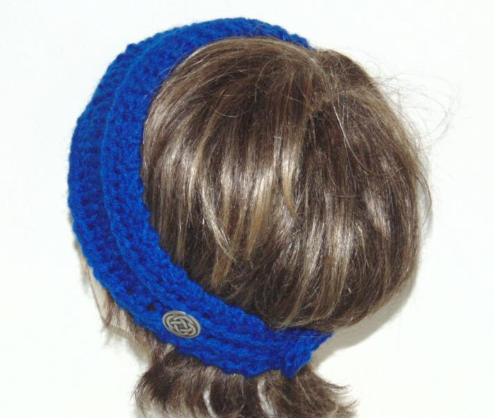 Bright Blue Hand Knit Headband