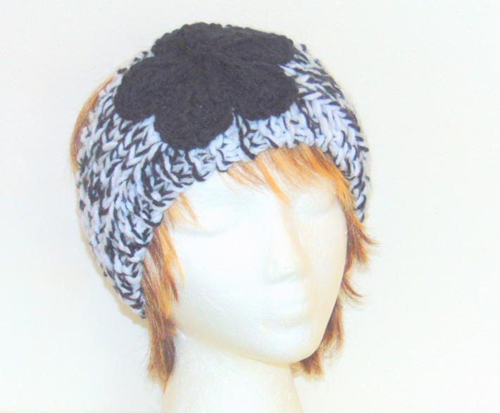 Black Tweed Hand Knit Ladies Adjustable Headband with Black Flower