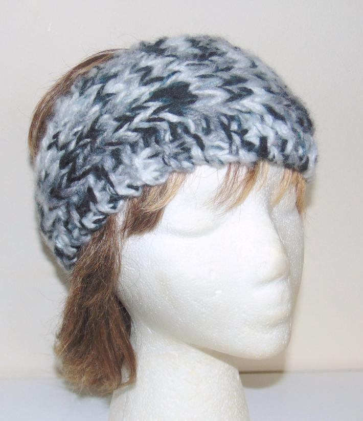 Black Gray White Tweed Hand Knit Ladies Headband