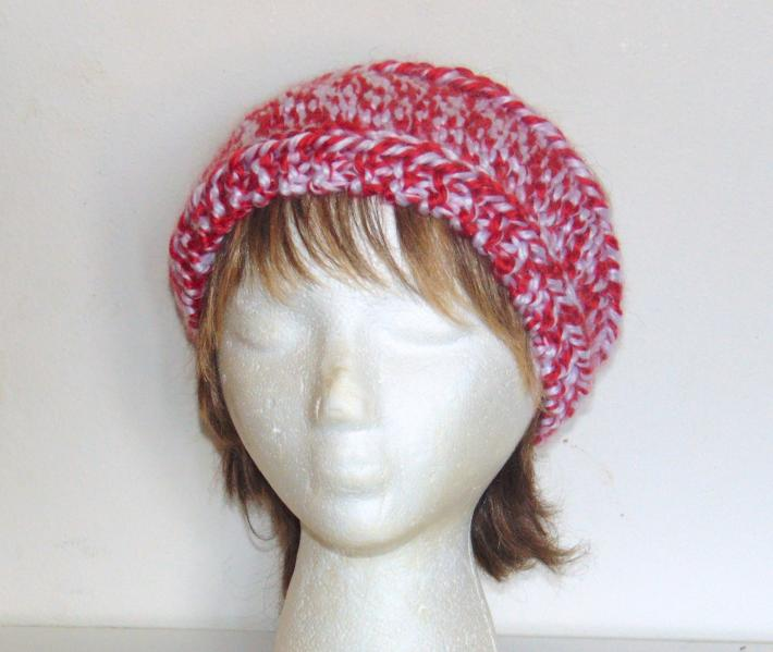 Red and White Hand Knit Headband