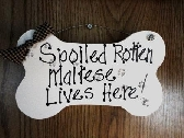 Dog Maltese wood sign