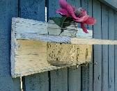 cottage shelf wood shabby chic vase hooks industrial Wall Shelf Organizer with vase