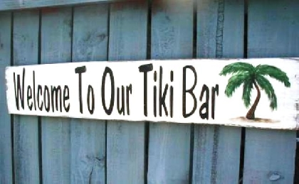 Tiki Bar patio outdoor wood sign