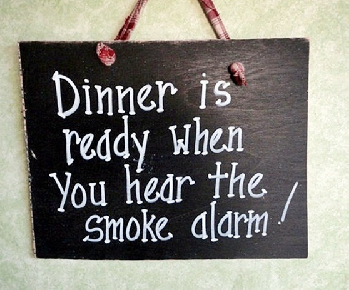 Wood sign Bad Cooking and smoke alarm