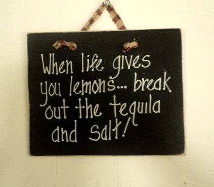 Wood sign Tequila and lemons