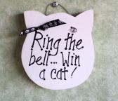 Wood sign  Ring Bell win Cat