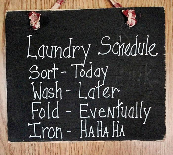 Wood sign Laundry Schedule funny wall hanging