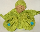 RESERVED Clutching toy and bootie set in lime green