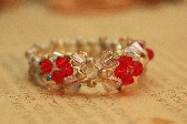 Red and White Swarovski Crystal Beaded ring