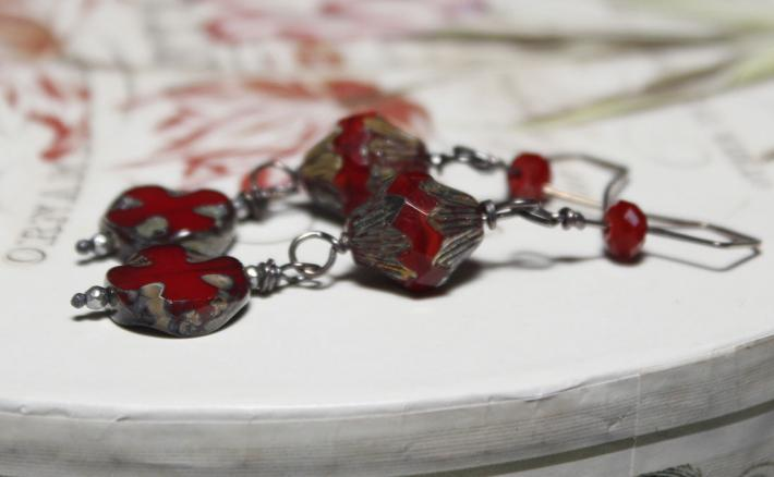 Dark Red Czech Glass Earrings with Aged Sterling Wire
