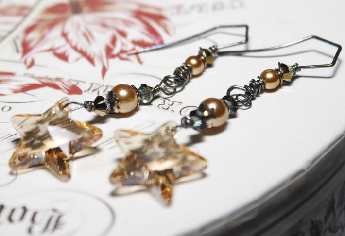 Golden Swarovski Star Crystals with Aged Sterling Wire