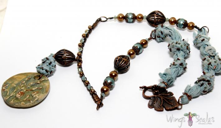 Handmade Polymer Clay with Glass Pearls Asian Crystals and Copper
