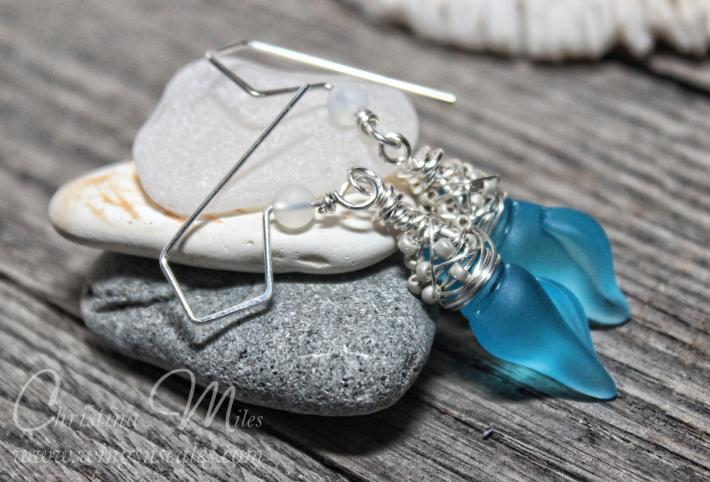 Sea glass Earrings Mini Conch Pacific Blue Dangle Cultured Beach Glass Jewelry Earrings