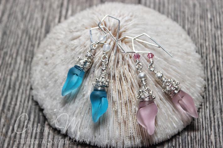 Sea glass Earrings Mini Conch Pacific Blue Dangle Cultured Beach Glass Jewelry Earrings