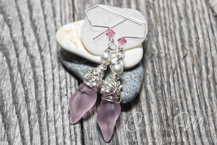 Sea glass Earrings Mini Conch Pacific Blossom Pink Cultured Beach Glass Jewelry Earrings