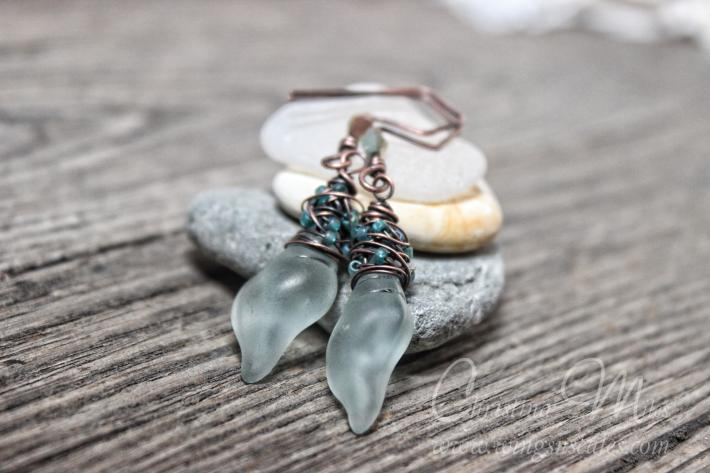 Sea glass Earrings Mini Conch Sea foam Dangle Cultured Beach Glass Jewelry Earrings