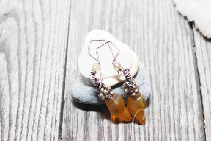 Sea glass Earrings Mini Conch Desert Gold Dangle Cultured Beach Glass Jewelry Earrings