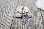 Sea glass Earrings Mini Conch Periwinkle Dangle Cultured Beach Glass Jewelry Earrings