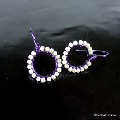 Wire Wrapped Pearl and Purple Earrings