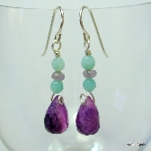 Fluorite Amazonite and Lepidolite Earrings