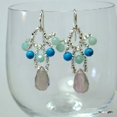 Fluorite Amazonite and Turquoise Beadwoven Earrings