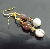 Botswana Agate and Smokey Quartz Earrings