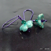 Teal Czech Flower Earrings with Swarovski