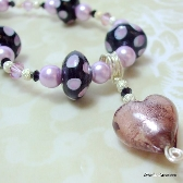 Pink Spot Lampwork Pearl and Swarovski Necklace