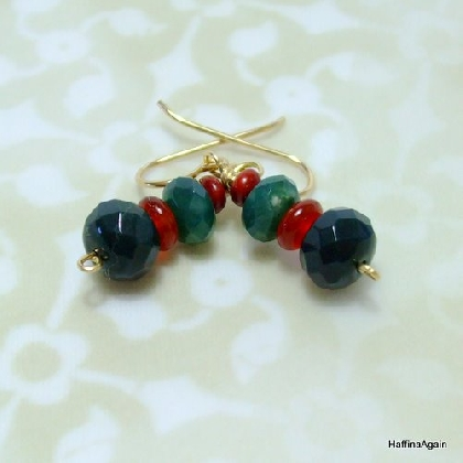 Gemstone Christmas Earrings