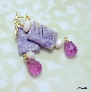 Purple Crazy Agate Fluorite and Peruvian Opal Earrings